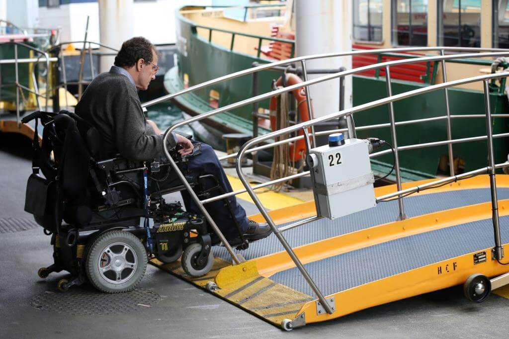 Electric wheel chair access to ferry